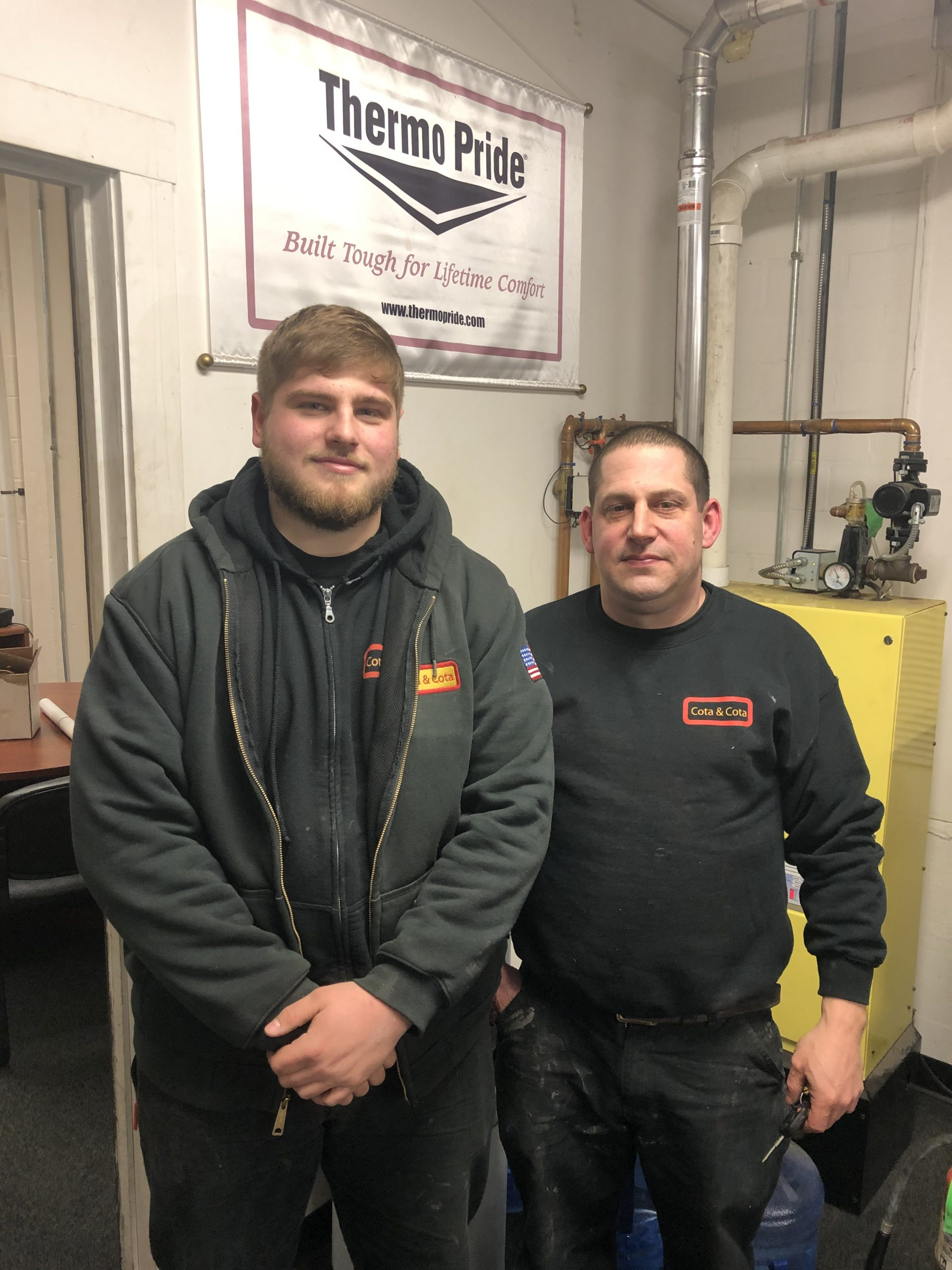 Apprentice Jared with master plumber Chris